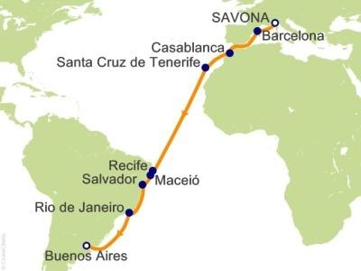 Plavba Francie, Itálie, Španělsko, Maroko, Kanárské ostrovy, Brazílie, Argentina - Costa Fascinosa