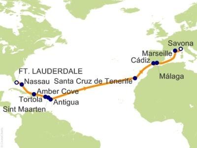 Plavba Florida, Bahamy, Panenské ostrovy, Antily, Kanárské ostr., Španělsko, Fra - Costa Deliziosa
