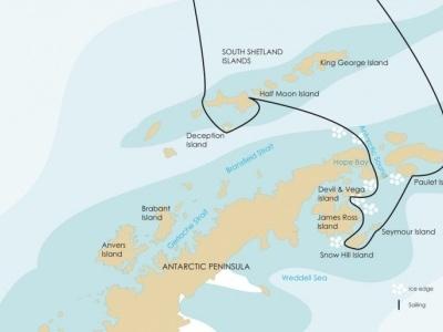 Plavba Hledání tučňáků císařských, Weddellovo moře - Ortelius